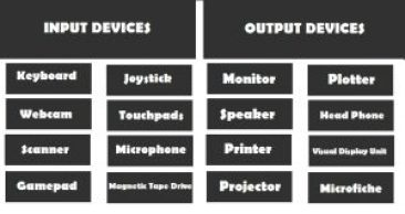 Input Output devices of computer