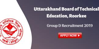 UBTER Group D Recruitment 2019.