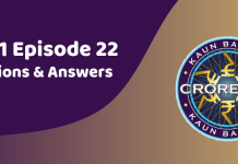Kaun Banega Crorepati (KBC) Season 11 Episode 22 Questions and Answers