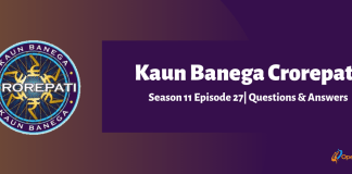 Kaun Banega Crorepati (KBC) Season 11 Episode 27 Questions and Answers