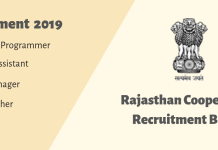 Rajasthan Cooperative Bank Various Post Recruitment 2019