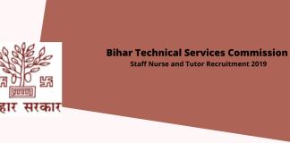 Bihar Technical Services Commission (BSTC) Staff Nurse Online Form 2019