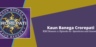 Kaun Banega Crorepati (KBC) Season 11 Episode 60 Questions and Answers