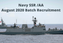 Navy SSR AA August 2020 Batch Recruitment and Online Form