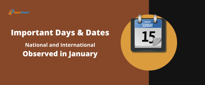 Important Days and Dates (National and International) Observed in January
