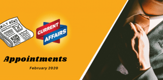 Appointments current affairs Feb 2020