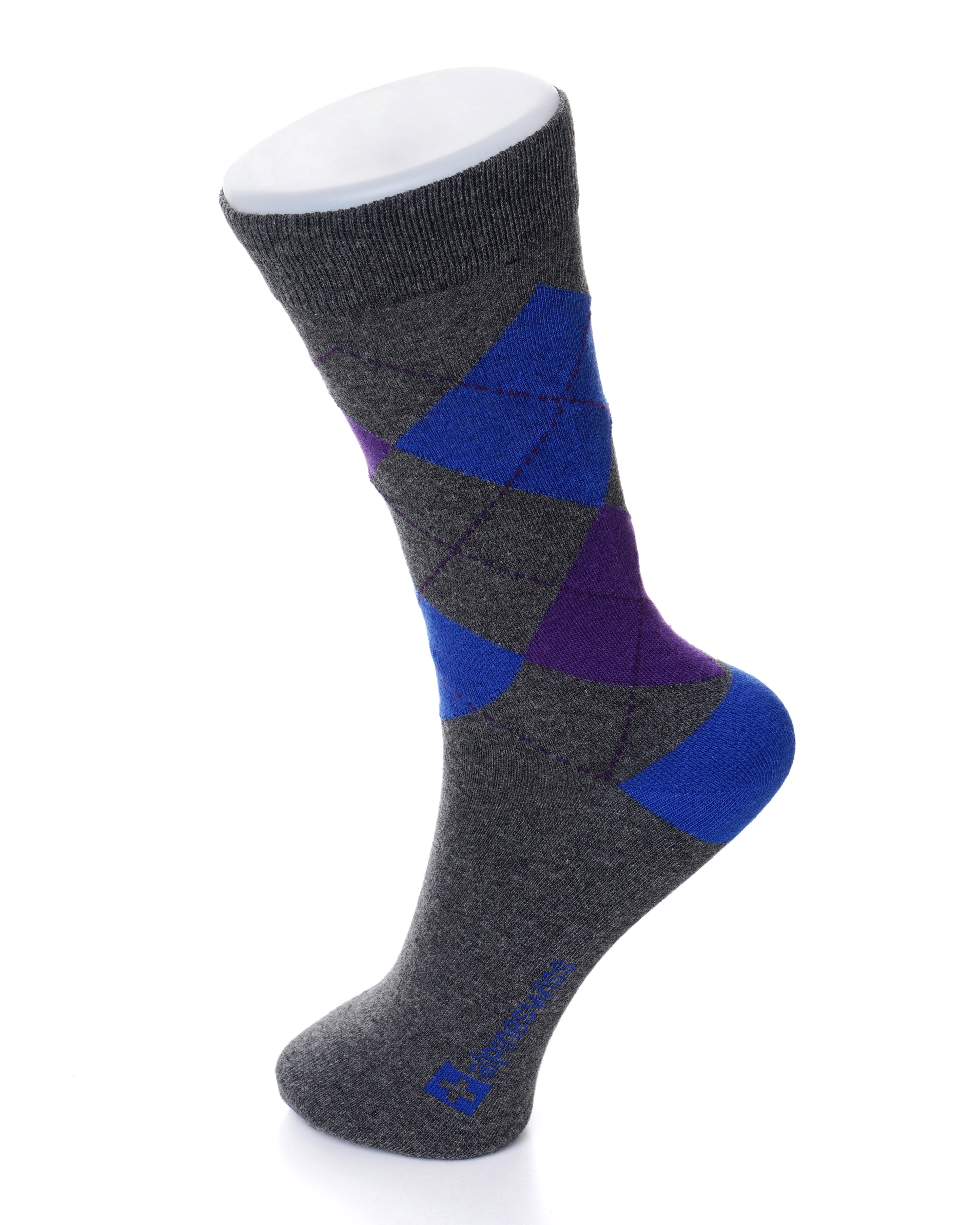 Alpine Swiss 6 Pack Mens Cotton Dress Socks Mid Calf