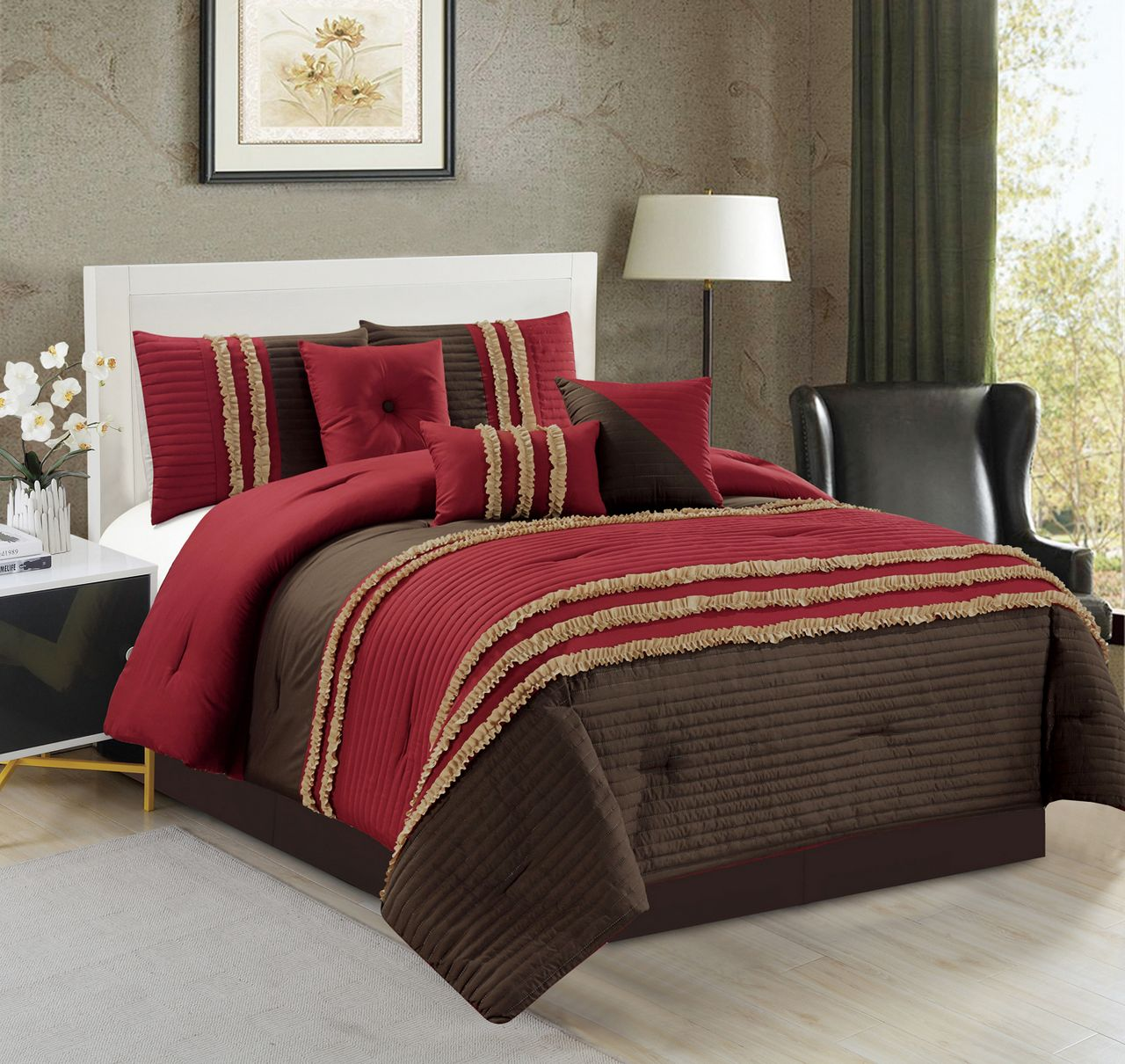 7 Piece Ruched Pleat Comforter Set