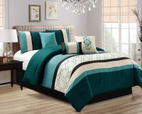 7 Piece Quilted Geometric Embroidered Teal/Ivory/Black ...