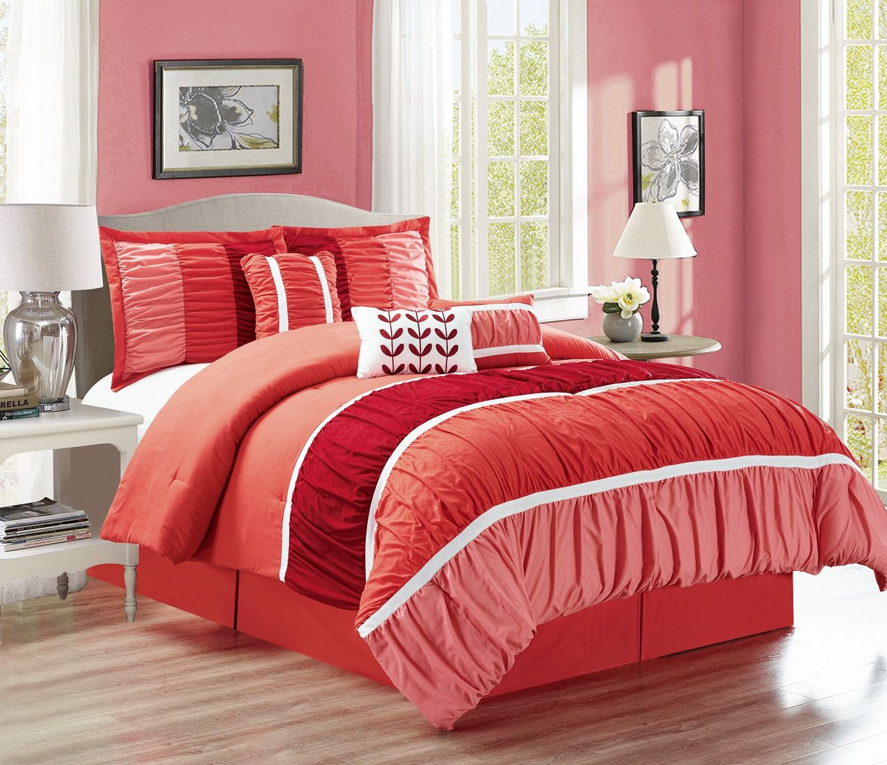 7 Piece Ruched Comforter Set