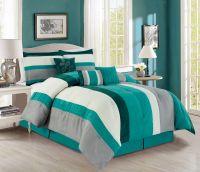 7 Piece Stripe Micro Suede Comforter Set | eBay
