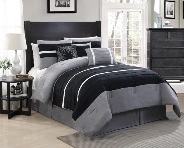 11 Piece Queen City Loft Black Gray Micro Suede Bed In