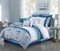 10 Piece Chloe Teal/Gray/Ivory Reversible Comforter Set | eBay