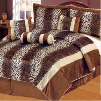 7Pcs Queen Leopard Brown Micro Fur Comforter Set | eBay