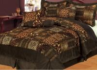 7Pcs Queen Safari Brown Micro Fur Comforter Set  Queen ...