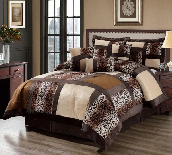 Leopard Faux Fur King Size Comforter Set