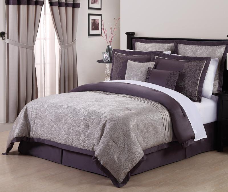 8pcs Queen Debois Purple Embroidered Comforter Set