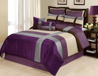8 Piece Queen Dorsey Purple/Silver Comforter Set