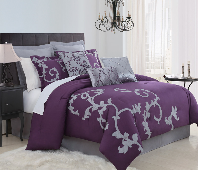 9 Piece Queen Duchess Plum and Gray Comforter Set
