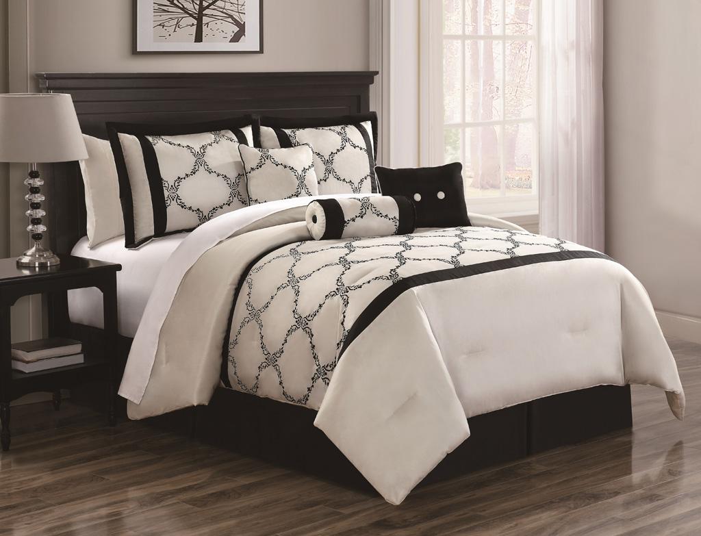 7 Piece Cal King Gracie Ivory and Black Comforter Set  eBay