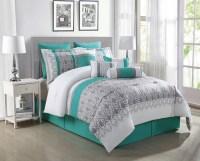 10 Piece Luna Teal/Gray/White Reversible Comforter Set | eBay