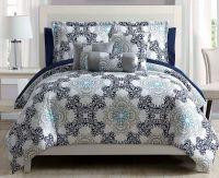 10 Piece Olena Gray/Gold/White Comforter Set w/Sheets | eBay