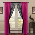 About 6 piece lana faux silk window curtain panels hot pink black