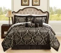 7 Piece Queen Prague Jacquard Black and Gold Comforter Set ...