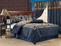 7Pcs Queen Royal Floral Bedding Comforter Set Navy | eBay