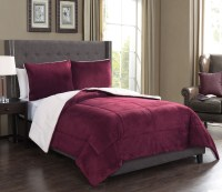 3 Piece Microsuede Sherpa Comforter Set