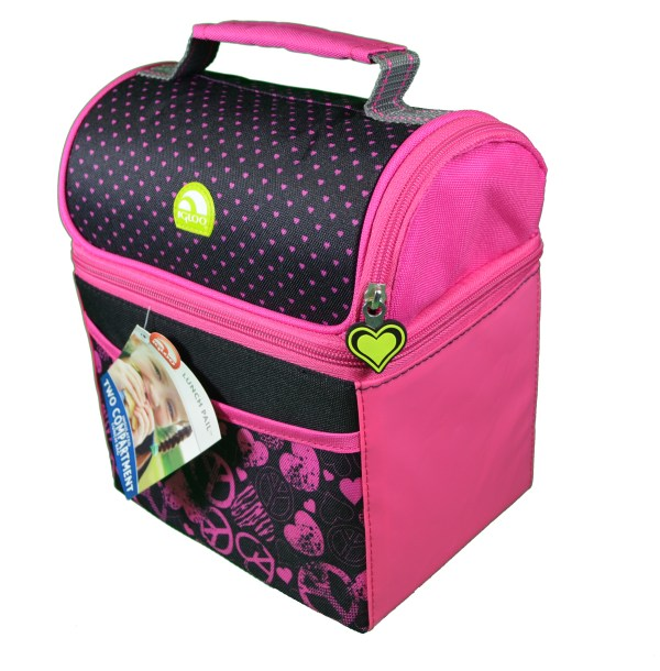 Igloo Pink Hearts Polartherm Insulated Cooler 2 Compartment Lunch Pail Box