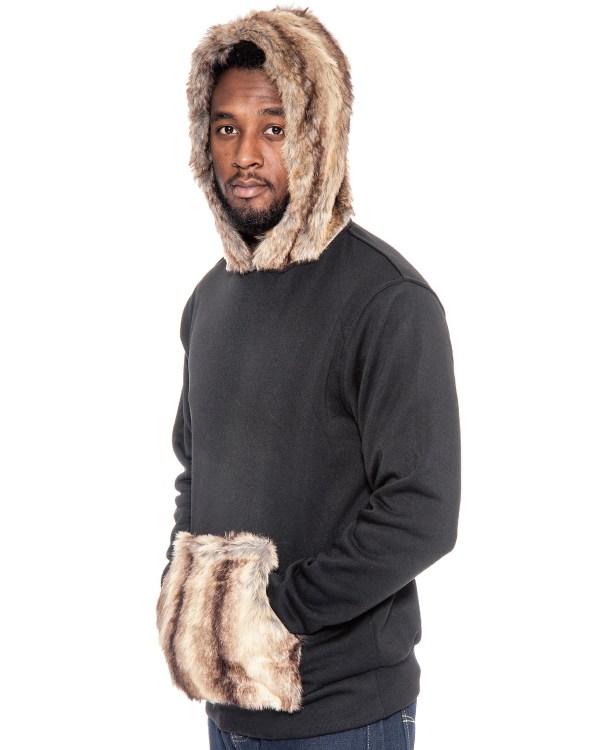 True Rock Men' Faux Fur Hoodie