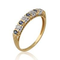 9ct Yellow Gold 0.24ct Natural Sapphire & Diamond Half ...