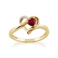 Gemondo 9ct Yellow Gold 0.29ct Ruby & Diamond Heart Ring ...