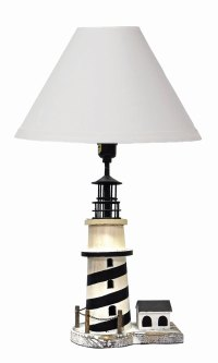 Nautical Striped Lighthouse Wooden Table Lamp