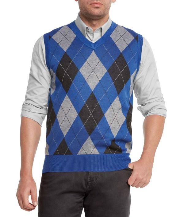 True Rock Men' Athletic Cut Argyle -neck Sweater Vest