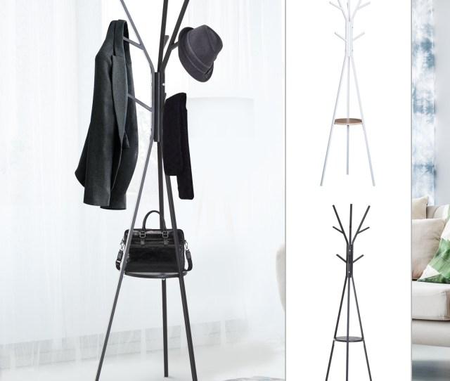 71 Metal Free Standing Coat Rack Hat Hanger Garment Holder 9 Hooks W Shelf