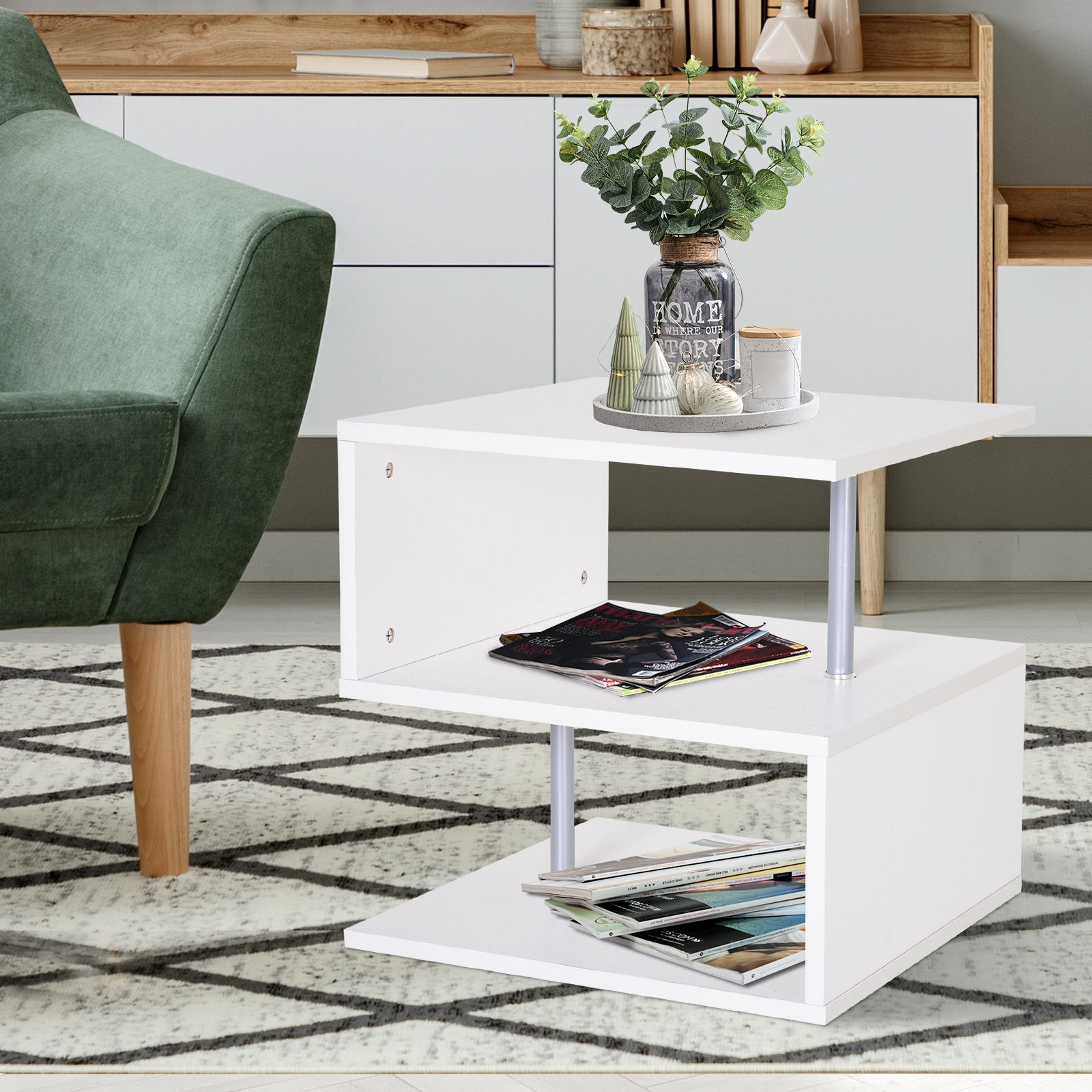 2 Tier Side End Coffee Table Storage Shelves Sofa In Home Garden Furniture Tables Ebay For Blanja