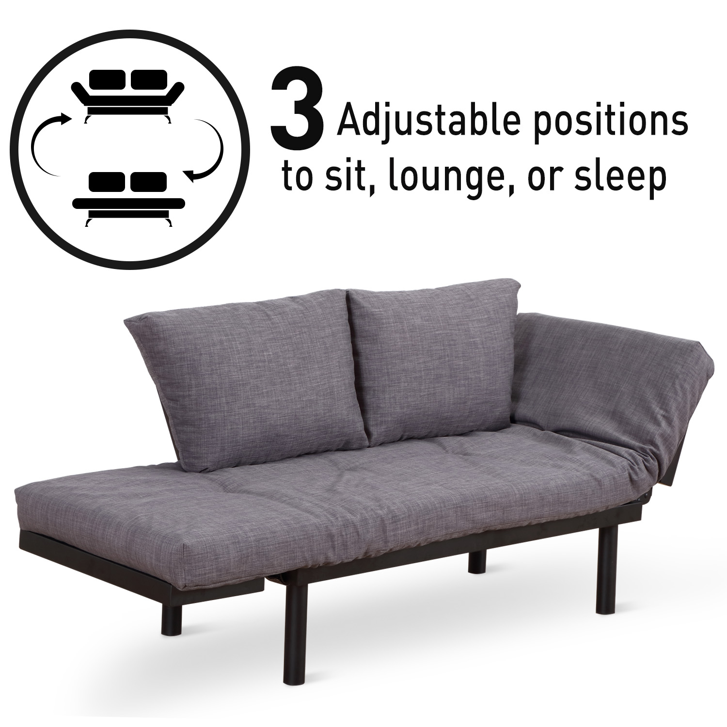 convertible futon sofa bed lounger fabric and wood sofas 3 position couch chaise