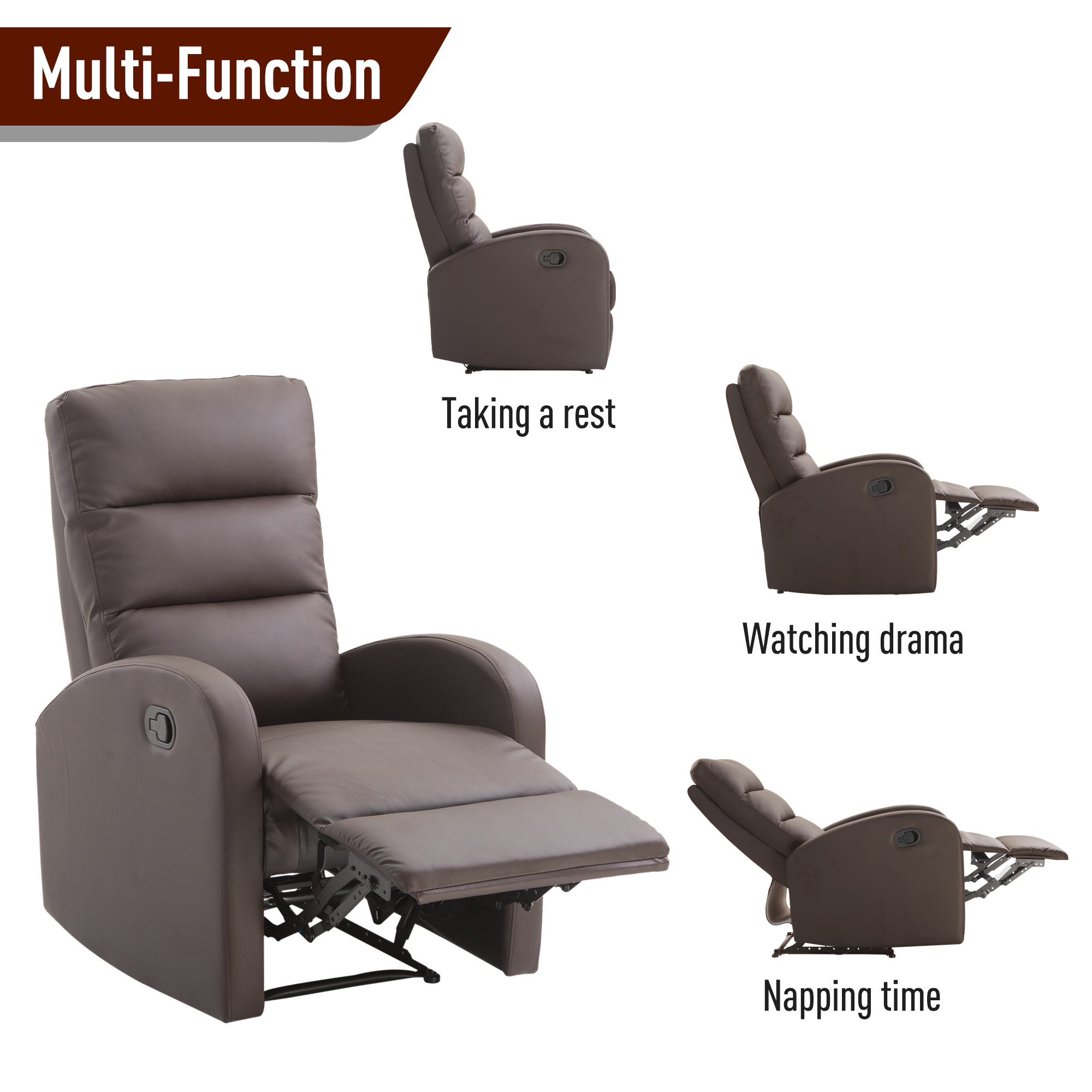 Leather Reclining Chairs Details About Pu Leather Recliner Sofa Armrest Chair Living Room Reclining Furniture Footrest