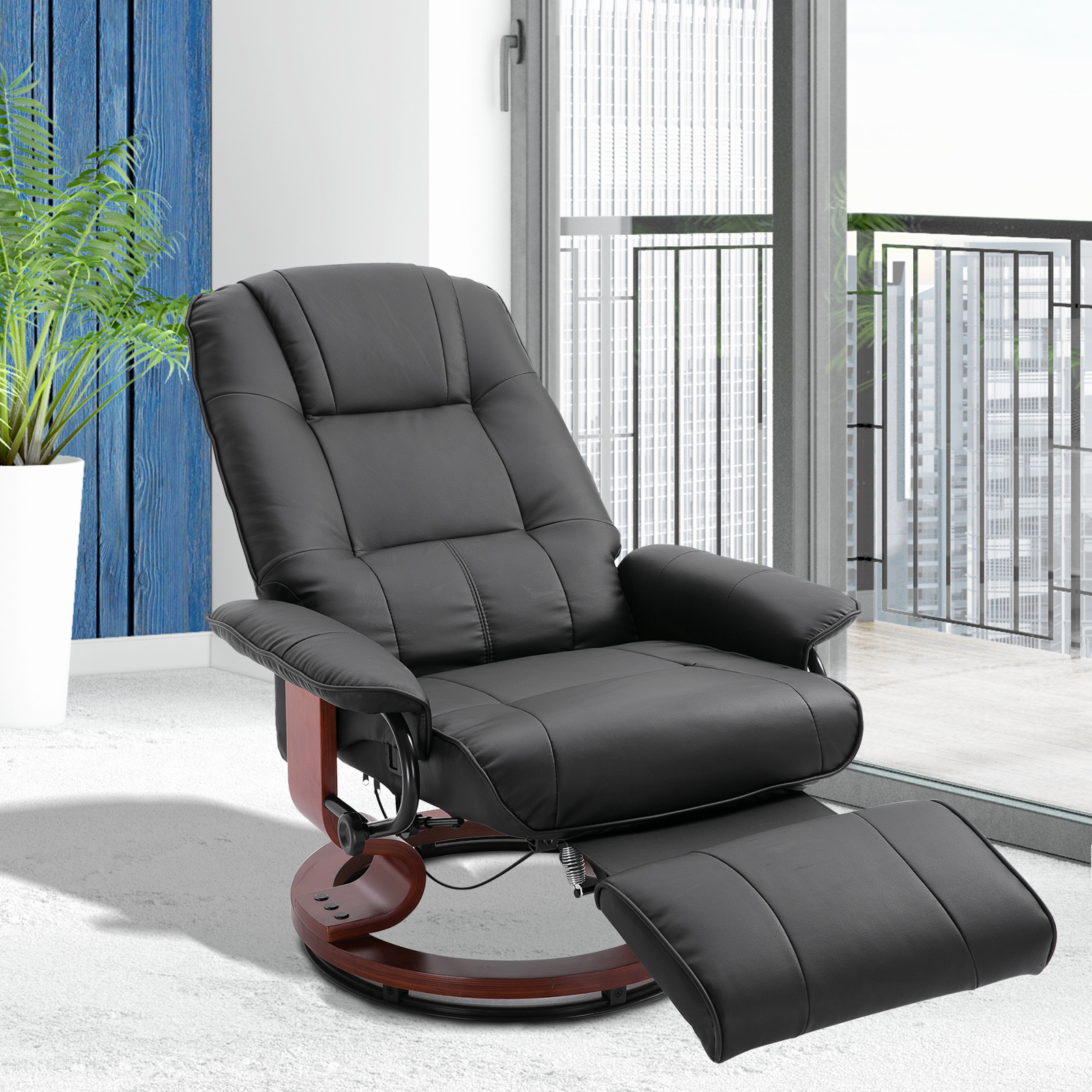 Swivel Recliner Chairs Details About Faux Leather Adjustable Traditional Manual Swivel Recliner Chair Ottoman Black