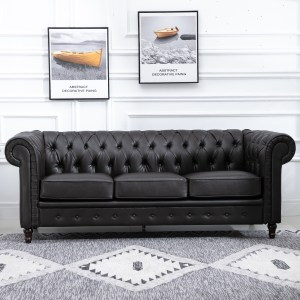 Details About Pu Leather 3 Seater Sofa Modern Design Living Room Couch Solid Wood Legs