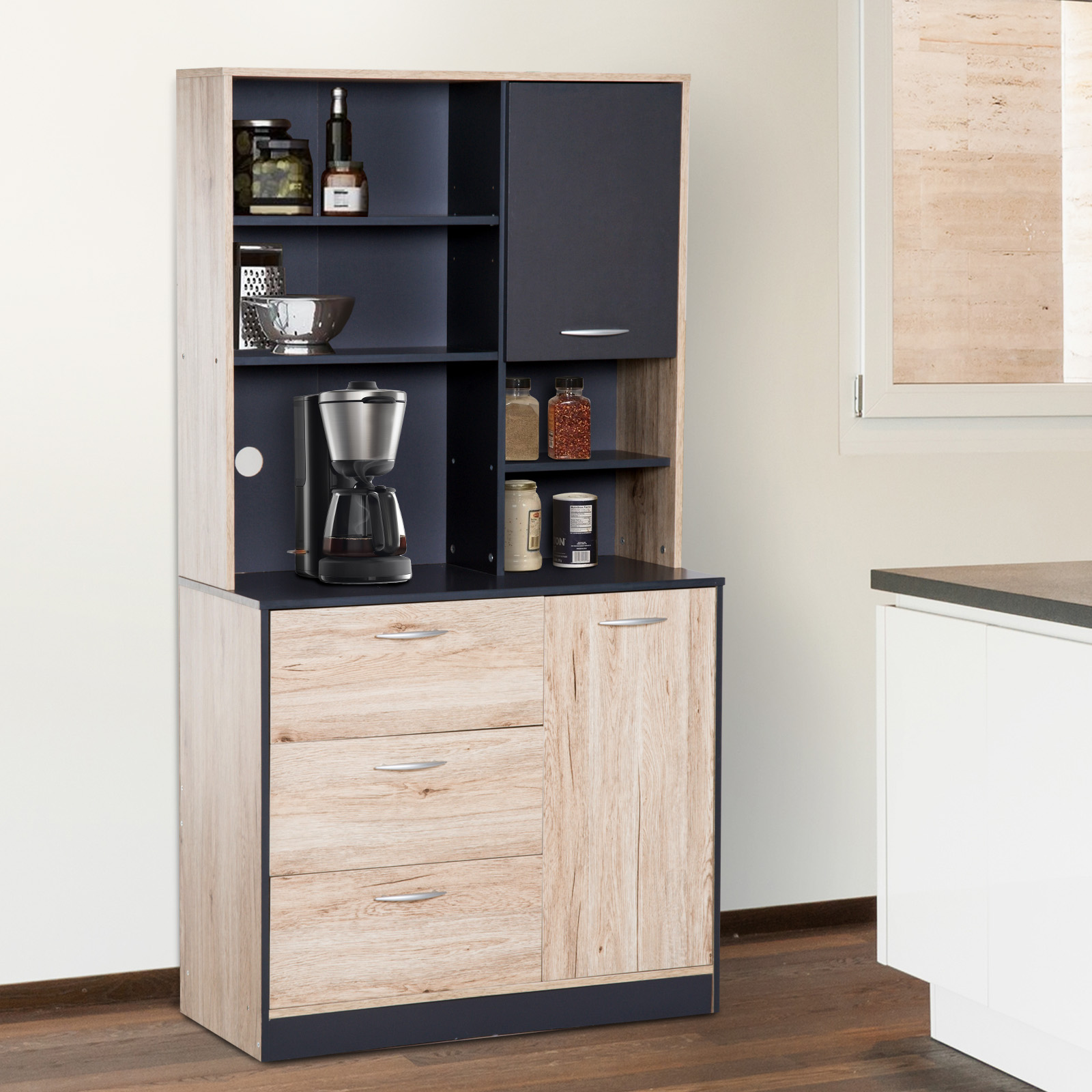 details about 66 5 kitchen storage pantry cabinet hutch buffet server microwave with 2 doors