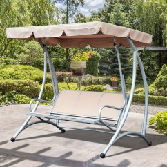 Swing Chair Metal Holiday Back Covers 3 Person Steel Outdoor Patio Porch With Adjustable Canopy Rocker