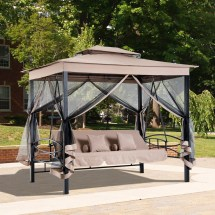 3 In 1 Patio Swing Gazebo Canopy Daybed Hammock