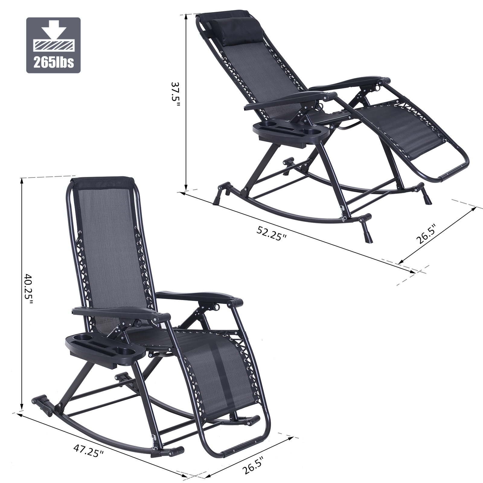 Office Nap Chair Zero Gravity Recliner Lounge Chair Patio Rocker Home