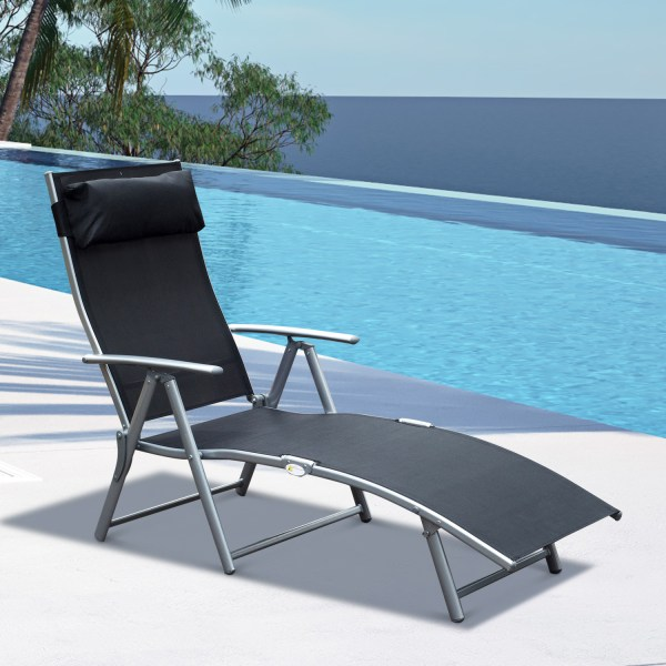 Chaise Lounge Chair Folding Pool Beach Yard Adjustable Patio Furniture Recliner