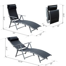 Chaise Lounge Chair Folding Pool Beach Yard Adjustable