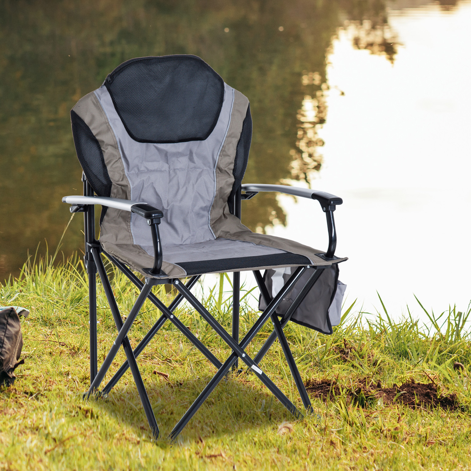 Camping Lounge Chair Outdoor Folding Padded Camping Chair Garden Picnic Fishing