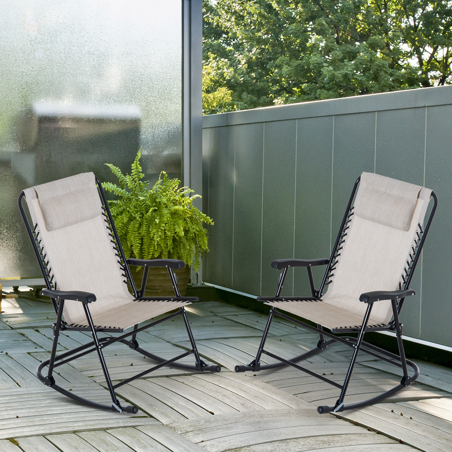 Outdoor Rocking Chair Set Details About Outsunny Mesh Outdoor Patio Folding Rocking Chair Set Porch Lawn Furniture
